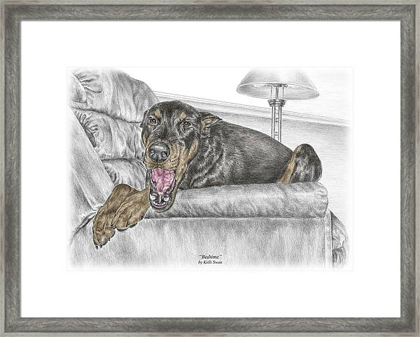 Bedtime - Doberman Pinscher Dog Print Color Tinted Framed Print