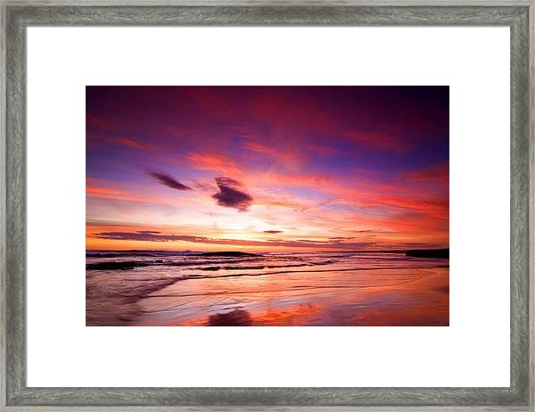Birubi Point Sunset Framed Print