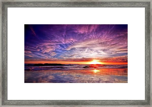 Birubi Point Sunset Redux Framed Print