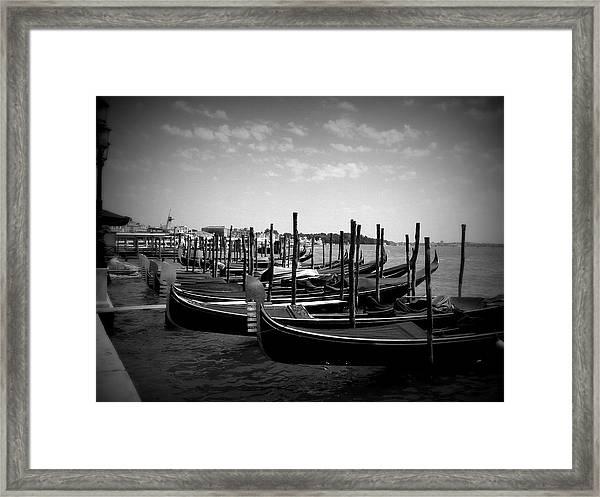 Black And White Gondolas Framed Print