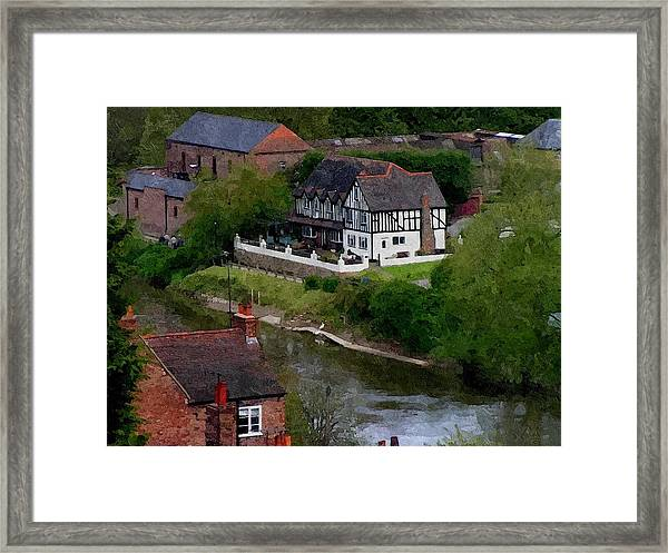 Black And White On The River Severn Framed Print