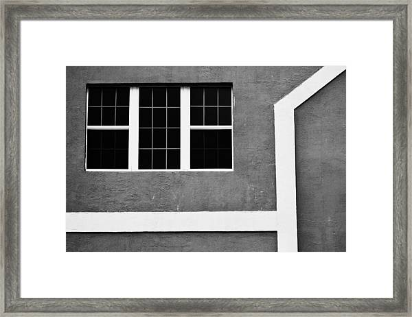 Black And White Side Of Building  Framed Print by Anya Brewley schultheiss