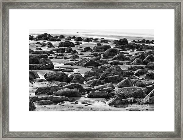 Black And White Wet Rocks Framed Print
