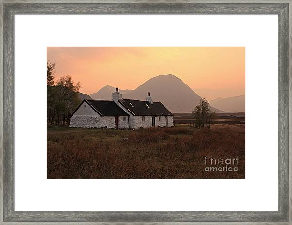 Black Rock Cottage Sunset Framed Print