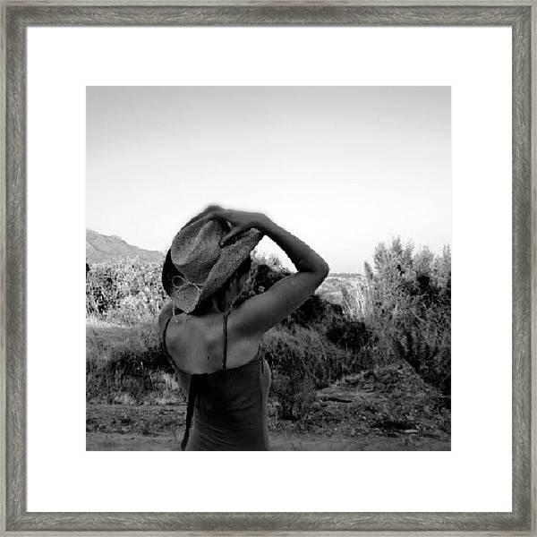 #blackandwhite #girl #hat #nature Framed Print