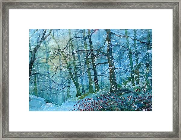 Blizzard In Broxa Forest Framed Print
