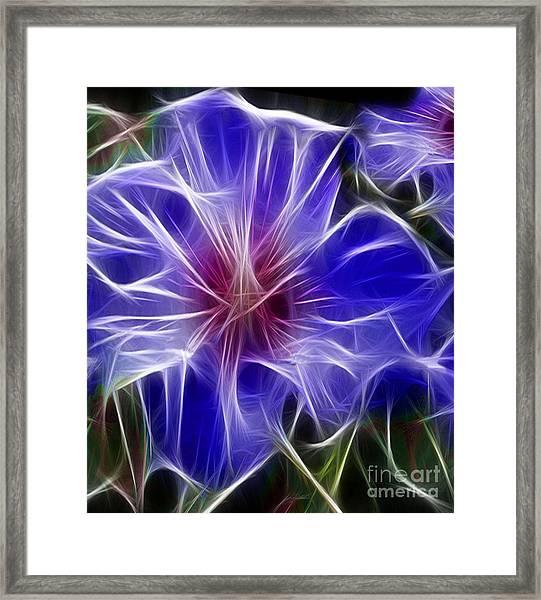 Blue Hibiscus Fractal Panel 3 Framed Print