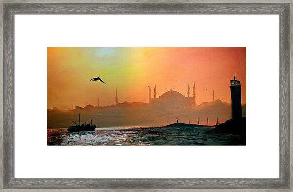 Blue Mosque At Sunset Framed Print