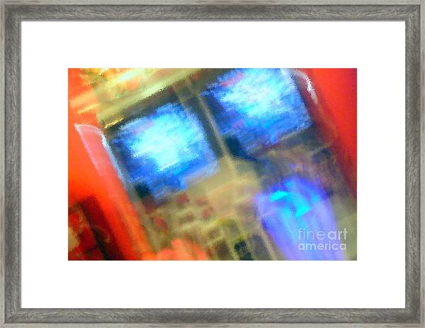 Blue On A Grid Framed Print
