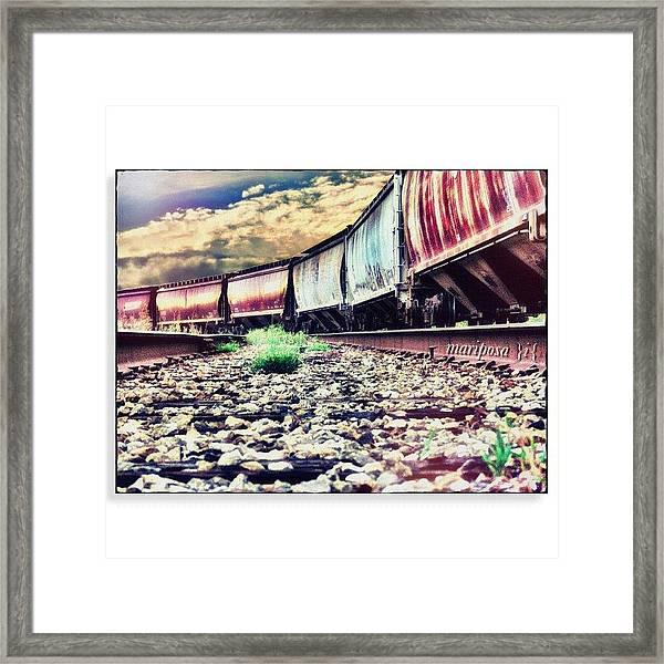 Blue Sky Train Framed Print