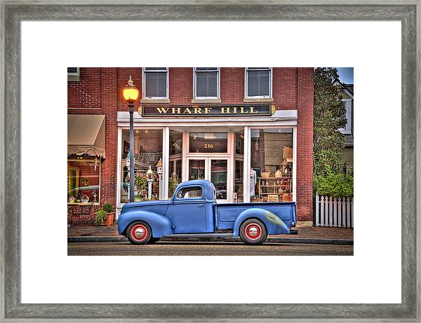 Blue Truck On Main Street Framed Print by Williams-Cairns Photography LLC