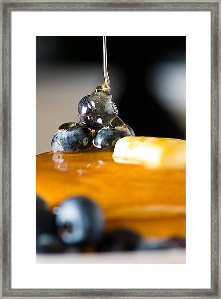 Blueberry Butter Pancake With Honey Maple Sirup Flowing Down Framed Print
