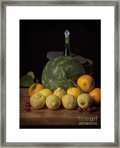 Bodegon - Watermelon-citrus And Cooler Framed Print by Levin Rodriguez