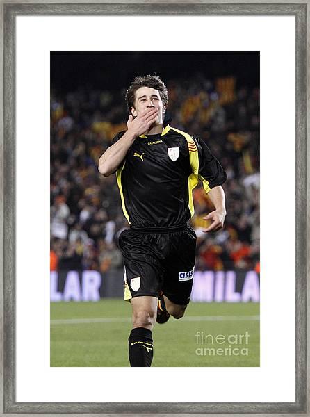 Bojan Krkic Celebrating A Goal 2 Framed Print