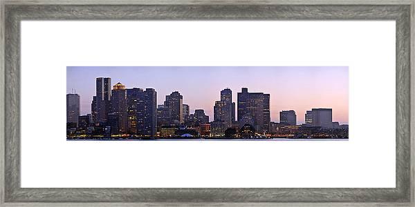 Boston Skyline At Sunset Framed Print by Sebastien Coursol