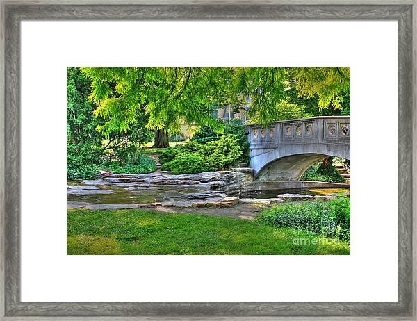 Bridge Over Waterway At Eden Park Framed Print
