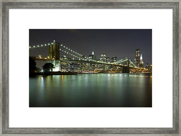 Brooklyn Bridge At Night 4 Framed Print