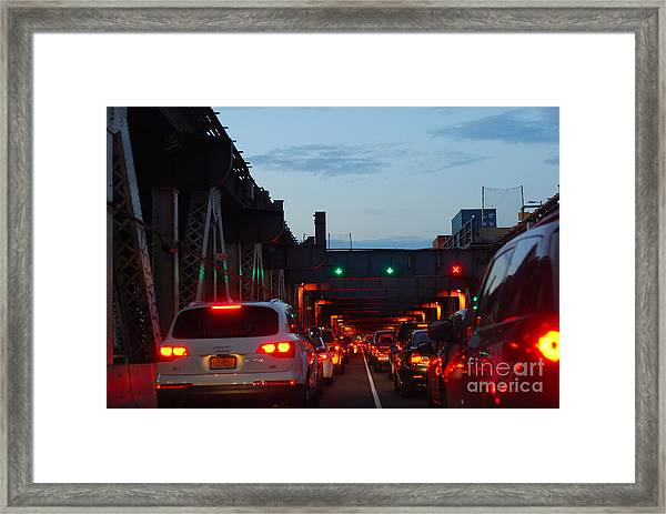 Brooklyn Bridge At Night Framed Print by Andrea Simon