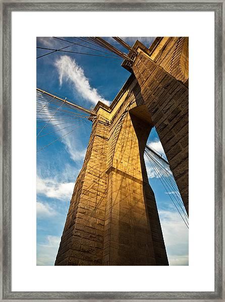 Brooklyn Bridge End Of The Day Framed Print by Patrick  Flynn