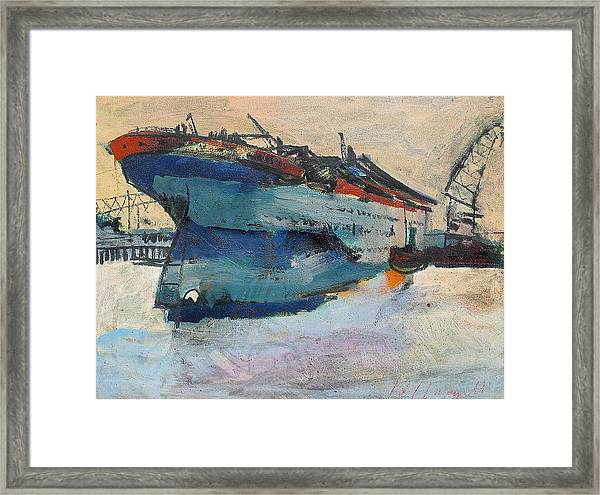Building The Titanic Framed Print