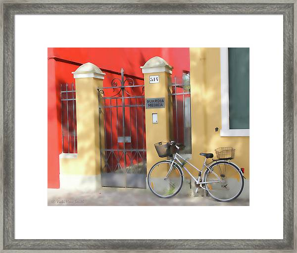 Burano Bicyle Doctor Framed Print