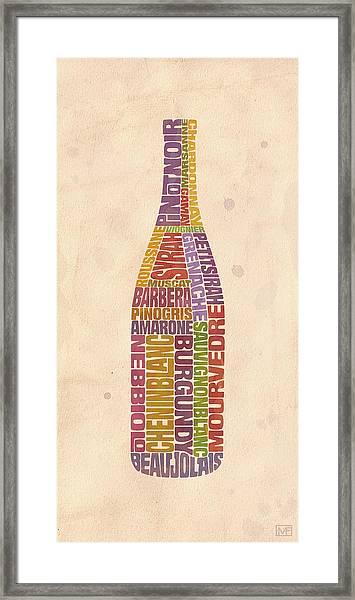 Burgundy Wine Word Bottle Framed Print