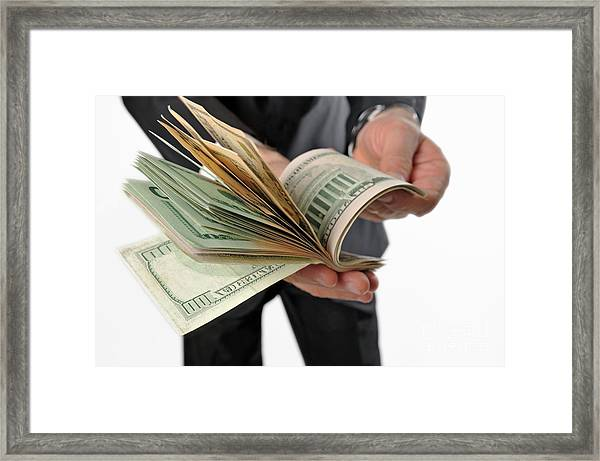 Businessman Counting American Dollars Notes Framed Print