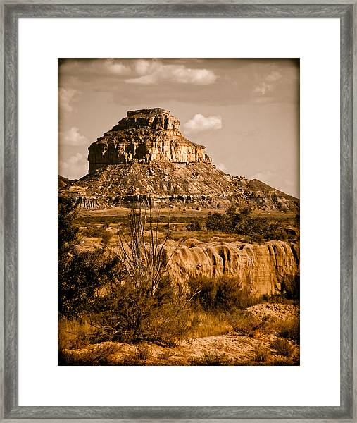 Chaco Canyon, New Mexico - Butte Framed Print