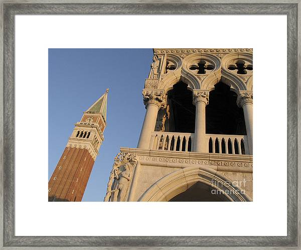 Campanile And Palace Ducal. Venice Framed Print