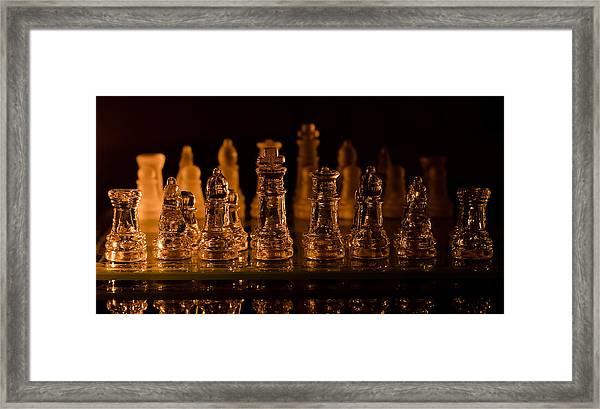 Candle Lit Chess Men Framed Print