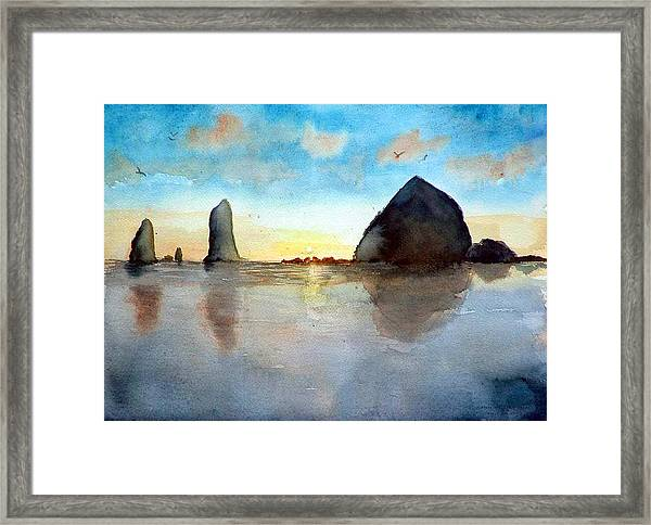 Cannon Beach Sunset Framed Print