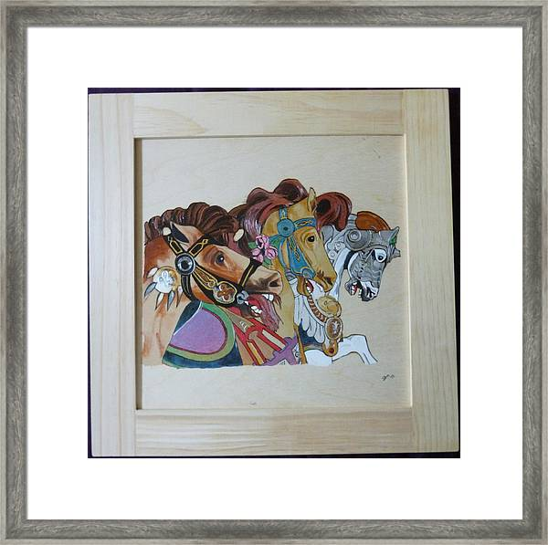 Carousel Horses Pyrographic Wood Burn Art Original 15.5 X 15.5 Inch Complete With Frame By Pigatopia Framed Print