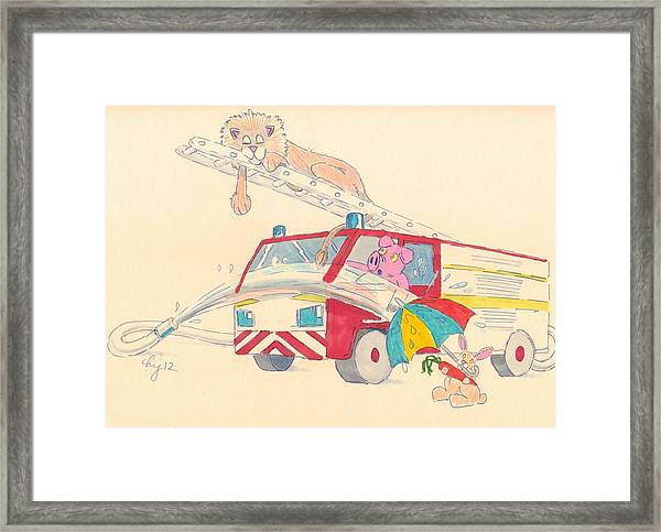 Cartoon Fire Engine And Animals Framed Print