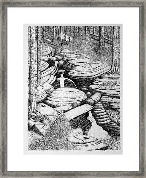 Cascade In Boulders Framed Print