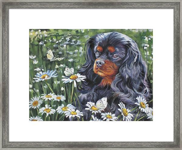 Cavalier King Charles In The Wildflowers Framed Print