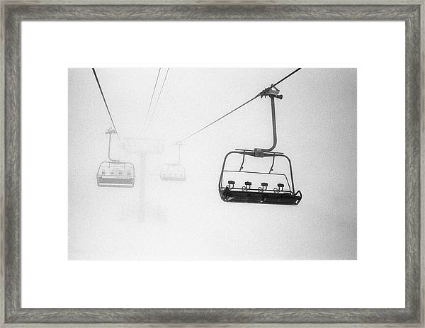 Chairlift In The Fog Framed Print