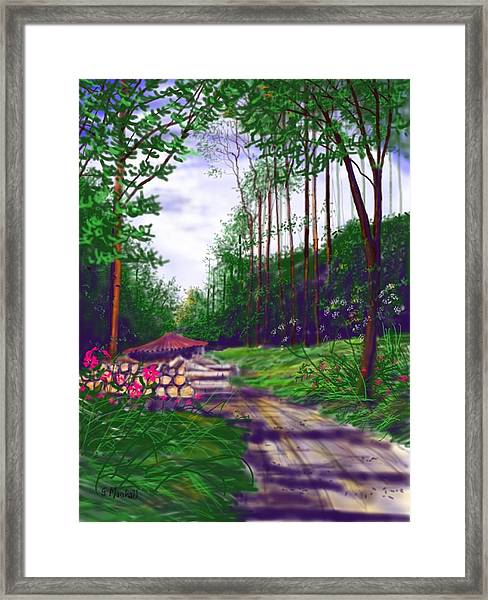 Charcoal Burners In Millington Wood Framed Print