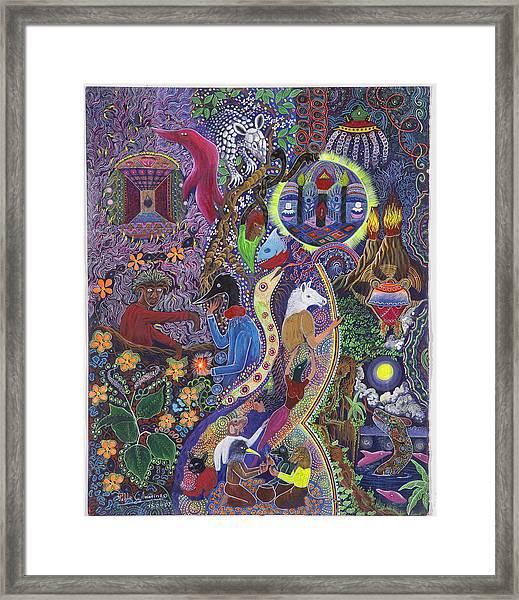 Framed Print featuring the painting Chasnamancho Umanki by Pablo Amaringo