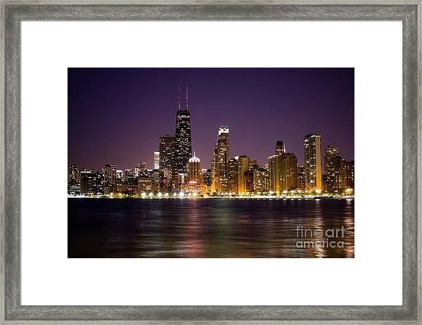 Chicago City At Night Photo Framed Print