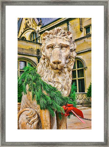 Framed Print featuring the photograph Christmas Lion At Biltmore by William Jobes