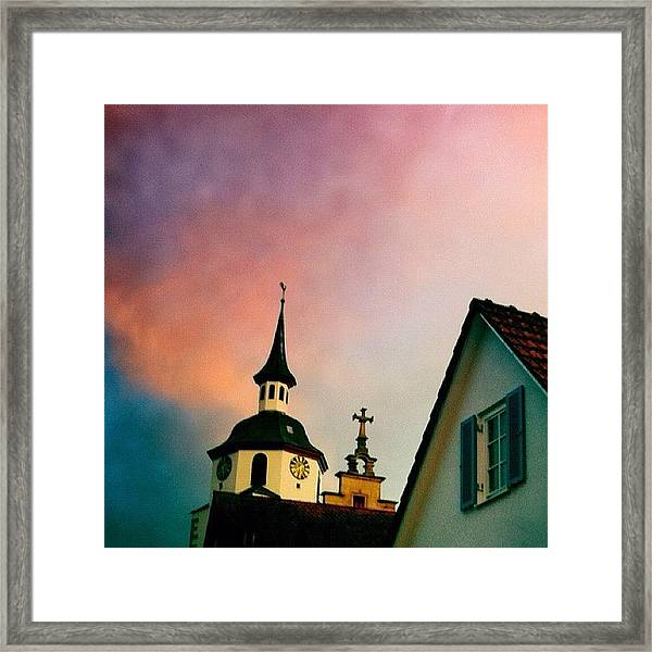 Church And Red Sky At Sunset Framed Print