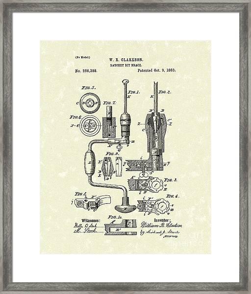 Clarkson Bit Brace 1883 Patent Art  Framed Print by Prior Art Design