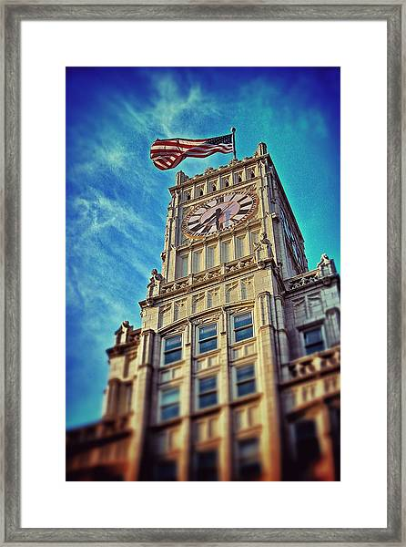 Clock Tower In Downtown Jackson 1 Framed Print