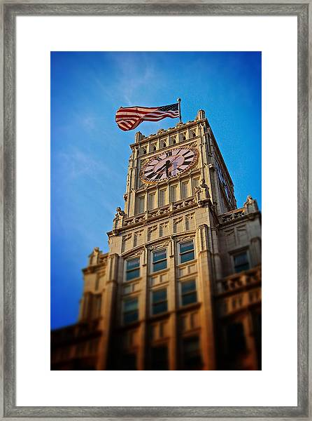 Clock Tower In Downtown Jackson 2 Framed Print