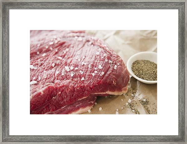 Close Up Of Raw Meat With Spices, Studio Shot Framed Print