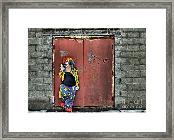 Clown Trash Framed Print