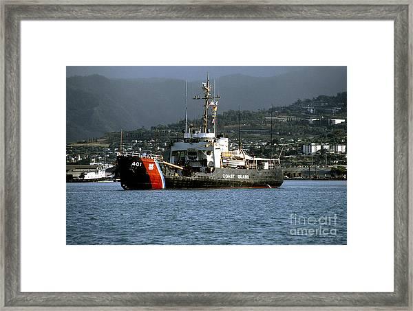 Coast Guard Ship Honolulu Harbor Framed Print