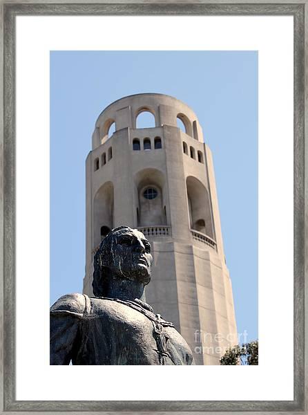 Coit Tower Statue Columbus Framed Print