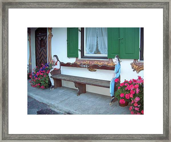 Colorful Bench Garmisch Germany Framed Print