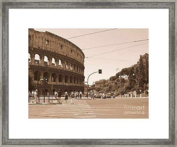Colosseum In Sepia Framed Print